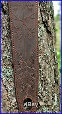 100% Genuine Leather Rifle or Shotgun sling decorated with Bear anti slip suede