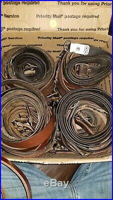 15 ROMANIAN WASR MILITARY SURPLUS LEATHER RIFLE SLING. Closeout Price