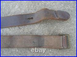 1935 French Made Leather Rifle Sling BERTHIER MAS Brass Buckle
