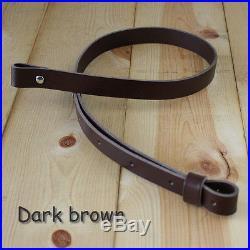 1 Leather Rifle Gun Sling adj 36 to 42 Dark Brown_Handmade_FREE SHIPPING