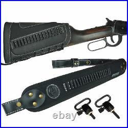 1 Set Leather Gun Shell Holder Buttstock +Rifle Sling For. 22 LR. 17HMR. 22MAG