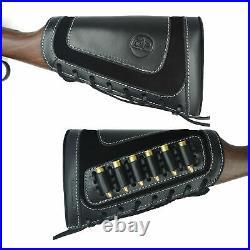 1 Set Leather Rifle Gun Buttstock + Matched Gun Sling Classic Black USA Stock