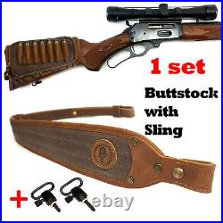 1 Sets Leather Rifle Buttstock Shell Holder with Gun Sling For. 45-70 308 30-06