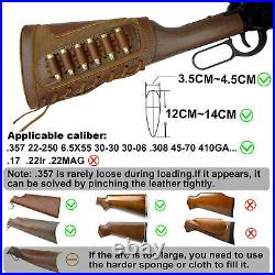 1 Sets Leather Rifle Shell Holder with Match Gun Cartridges Slots Sling Swivels