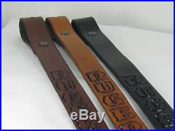1 inch wide Handmade Genuine Leather Rifle Sling RUGER Dark Brown
