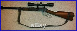 2 Leather Rifle Sling For A Marlin 3030 NO DRILL SLING Brown With Blue Hardware