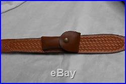 Bianchi Leather Rifle Sling #65 Cobra, Lined, Basket Weave, Swivels, Knife Sheath