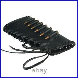 Black Leather Rifle Buttstock Cover with Gun Sling Ammo Shell Holder, Handmade