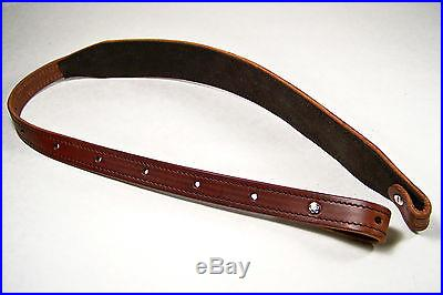 Chestnut Stitched Bridle Leather Rifle Sling w/Tooled Edge ~ White Stitching~USA