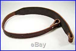 Chestnut Stitched Bridle Leather Rifle Sling withTooled Edge Black StitchingUSA