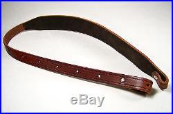 Chestnut Stitched Bridle Leather Rifle Sling withTooled Edge White StitchingUSA