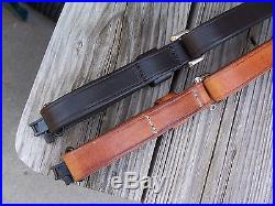 Custom Made Adjustable LF Leather Rifle Sling Quick Release Swivels