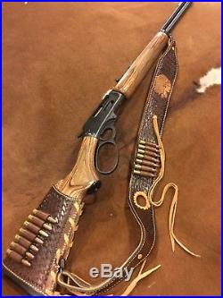 Custom leather stock wrap And Sling for a Marlin model 336 30-30 hand tooled
