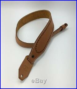 Diamond D Padded Leather Rifle Sling, Tooled Border Weave, Natural ALASKA MADE