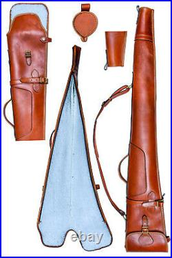 Genuine Leather Brown Leather Short Gun Slip Case Hunting Shooting Trap Clay