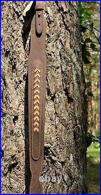 Genuine Leather Rifle sling decorated with leather weaving Neopren