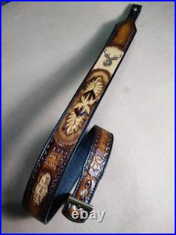 Genuine Leather handmade rifle gun sling, customised with owner name and a symbol