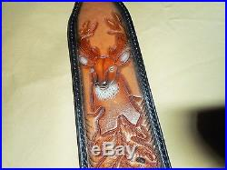 Hand Tooled Leather Padded Rifle Sling Adjustable Length Deer-Oak Leaves-Acorns