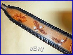 Hand Tooled Leather Padded Rifle Sling Adjustable Length Elk-Eagles-Lots Tooling