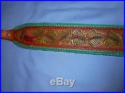 Hand Tooled Leather Padded Rifle Sling Adjustable Length Green Leaves-Basket Wea