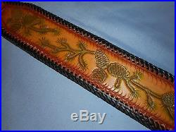 Hand Tooled Leather Padded Rifle Sling Adjustable Length PineCones-Limbs-Needles