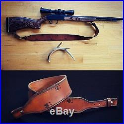 Hand Tooled Leather Rifle Sling Deer Tracks