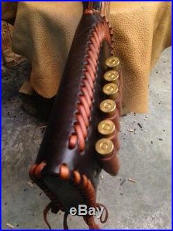 Handmade Dark Brown Leather Gun Stock Cover Shell Holder /Sling Thumb Hole