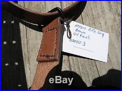 Handmade M1907 Leather Military Rifle Sling 1.25 Inches Wide -Oil Finish/Brown