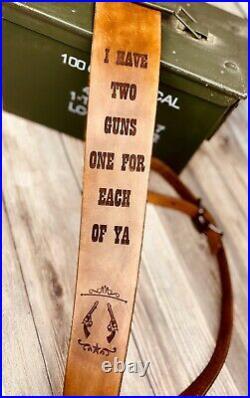Handmade Rifle Sling Leather Strap Tombstone Gun Rifle Shotgun Strap Custom