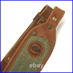 High Quality Canvas Leather Rifle Sling + Gun Buttstock Ammo Holder USA Stock
