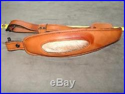 Inlaid antelope fur oval in suede lined fancy padded leather rifle sling + QDs
