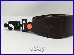 John M. Browning Signature Leather Shotgun Rifle Sling, Dark Brown