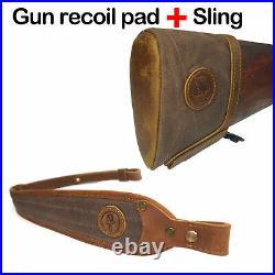 Leather Canvas Gun Recoil Pad Slip on Rifle Shotgun Buttstock Protector, Sling