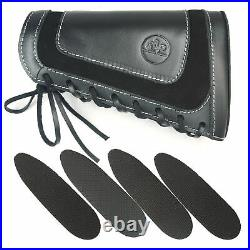 Leather Rifle Buttstock Shell Holder with 1pcs Ammo Cartridge Gun Sling, Padded