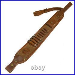 Leather Rifle Cartridge Holder Sling, Cow Hide Gun Shoulder Straps Brown, Back