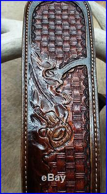 Leather Rifle Sling, Brown Leather, Handcraved in the USA, Oak Ridge, Economy AA