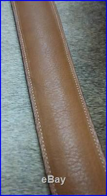 Leather Rifle Sling, Handcrafted in USA, Brown Leather, Padded, Economy AAA, Bear