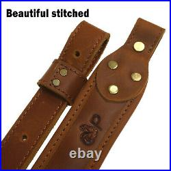 Leather Rifle Sling Shoulder Strap Hunting Soft Suede Pad Leather Shotgun Belt
