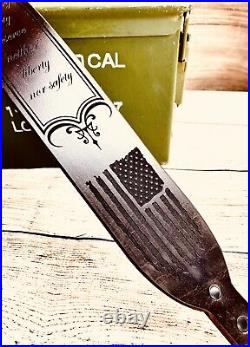 Liberty Nor Safety Leather Rifle Sling American Flag Eagle Patriot Patriotic