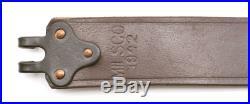 M1907 MILITARY LEATHER RIFLE SLING Dated 1942 M1GARAND SPRINGFIELD Dark