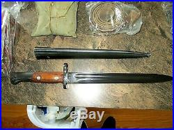 Mitchell's Mauser Bayonet & Scabbard, Leather Frog, Rifle sling, ammo pouch, cl