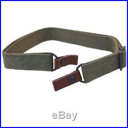 NEW SURPLUS SKS OD GREEN CANVAS RIFLE SLING With LEATHER TABS ORIGINAL EQUIPMENT