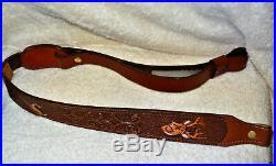 NOS Vintage AA&E Leather Craft Rifle/Shotgun Deer Head Sling Gun Strap (3052)