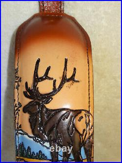 NOS Vintage Standing Elk Scene Rifle/Shotgun Gun Sling Padded Top Grain #1004