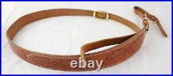 Original German Luxury Vintage Hunting Broad Padded Rifle Sling Embossed Leather