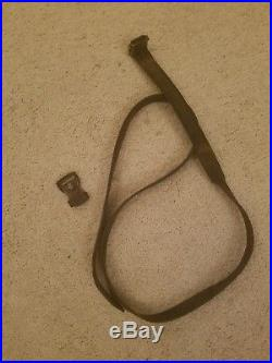Original WWII German Military Leather Rifle Sling K98 Mauser with Keeper