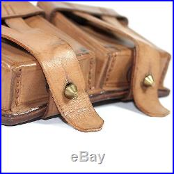 Original genuine leather Mosin-Nagant rifle carrying sling and ammo pouch
