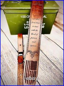 Personalized Leather Rifle Sling, Custom Gun Sling American Flag Rifle Sling