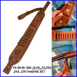 Retro Real Leather Rifle Recoil Pad +Soft Gun Ammo Sling Padded USA Stock