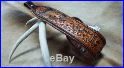 Rifle Sling, Brown Leather, Hand Carved, Made in the USA, Grizzly Ridge